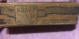 Vintage Wooden Kraft American Pasteurized Process Cheese Wood Box 2 Lb