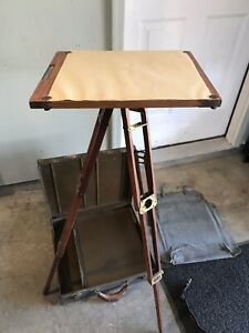Antique Keuffel Esser Tripod Sketch Stand With Metal Case Tools Nice
