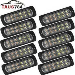 10x Amber White Car Truck 12 Led Emergency Flash Warning Strobe Light Kit Bar