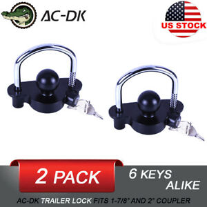 Ac Dk Trailer Hitch Coupler Lock Tongue Lock Black 2 Pack With 6 Keys Alike