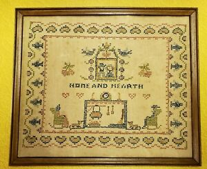 Antique Cross Stitch Sampler On Linen Fabric Home And Hearth