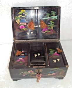 Rare Beautiful Handmade Wooden Jewelry Box Hand Painted Japan With