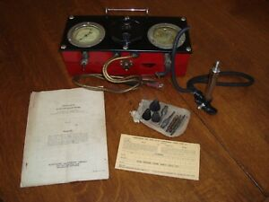 Vintage Motor Testing Equipment Automotive Compression Vacuum Tester Allen