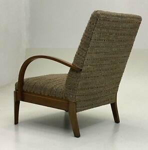 Unique Art Deco Period Large Lounge Arm Chair With Wood Frame Vintage