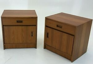 Danish Teak Nightstands Set Pair Denmark Mid Century Modern Vintage Table