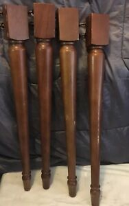 4 Mahogany Architectural Furniture Salvage Turned Wood Farm Table Legs 30