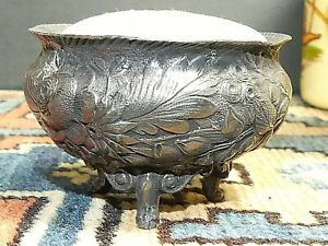 Antique Barbour Bros Co Quadruple Silver Plate Repousse Footed Pin Cushion