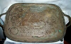 1883 F B Rogers Silver Company 2261 Large Footed Butler Tray 22 X13 11lbs 1900
