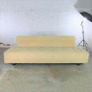 Mid Century Modern Convertible Sofa Bed Button Detail In Oatmeal Colored Mohair
