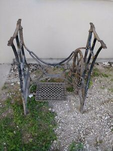 Antique New Home Cast Iron Sewing Machine Treadle Base Leg Stand Repurpose Table