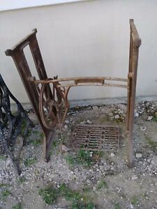 Antique Sewing Machine Light Weight Base Treadle Furniture Repurpose Shabby Chic