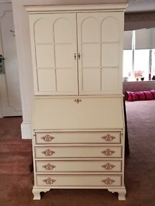 Vintage Shabby Chic Drop Front Secretary Desk Lots Of Drawers Shelves 71 H