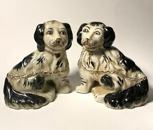 Pair Of Antique Staffordshire Black White Seated Spaniel Mantle Dogs