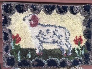 Antique Hooked Rug Of Ram Sheep