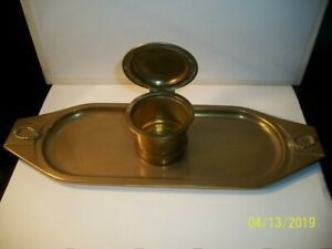 Antique 1880s 1890s Ges Gesch Brass Copper Tray With Lidded Inkwell Nice