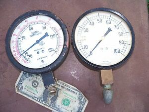 Pair 6 Marsh Pressure Gauges Ammonia Vacuum Steampunk Glass Hubbell 150 Psi