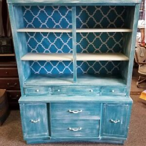 Vtg China Hutch Redone In Teal And Antique White Fabric Back Distressed