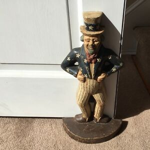 Vintage 1940 S Uncle Sam Cast Iron Doorstop Original Paint Exc Cond