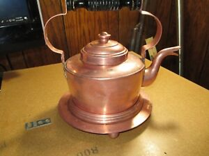 Antique Metalware Copper Tin Lined Tea Kettle