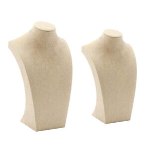 2 Pcs Necklace Pendant Display Bust Mannequin Jewelry Display Stand Linen