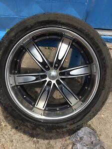 Set Of 4 Velocity Vw850b 22 X10 Black Machine Faced Rims Tires Used