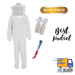 Professional Beekeeper Suit Jacket Pants Gloves Scraper Bee Protecting White