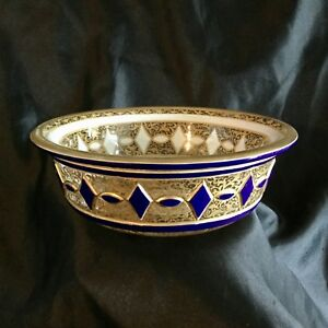 Antique Moser Glass Bowl Hand Carved Glass Enamel And Gold On Both Sides