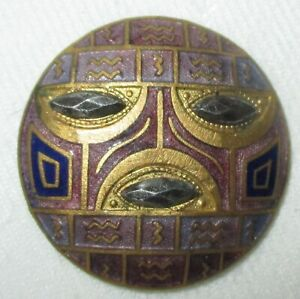 Antique French Champleve Enamel Egyptian Inspired Face Button W Cut Steels
