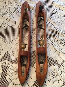 Wood Textile Shuttle Wall Sconce Candle Holders 2 Vintage
