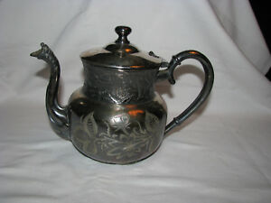 Antique Quadruplated Silver Dragon Snake Head Spout Etched Teapot B 1880