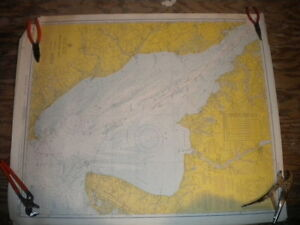Vintage Nautical Chart 1960s Delaware Bay 40 X 33 Boating Decor