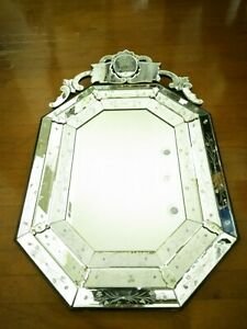 Vintage Authentic Venetian Triple Beveled Octagon Etched Glass Mirror 45 By 28