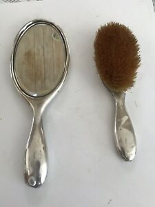 Antique M 1880 Gorham Sterling Silver Engraved Brush And Mirror Vanity Set