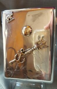 Antique Russian Silver 84 Large Cigarette Case Pink Gold Piece Attached Moscow