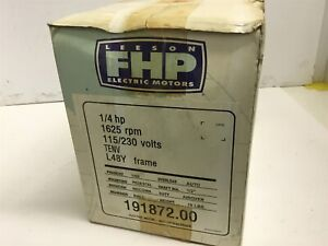 Leeson 191872 00 1 4 Hp 1625 Rpm 115 230 Volts 48y Frame Ac Motor Single Phase