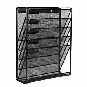 5 Tier Wall Files Organizer Wall Mount Document Letter Tray Holder