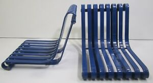 2 Vtg Metal Heavy Slat Outdoor Park City Commercial Restaurant Patio Chair Seat