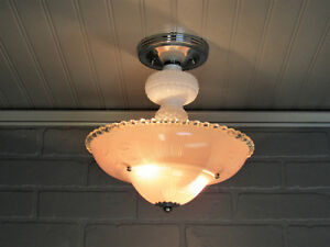 Vintage Art Deco Semi Flush Mount Ceiling Light Pink Glass Shade Hobnail Accents