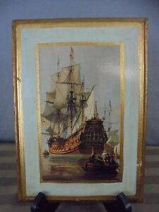 Mid Century Florence Italy Toleware Gold Gilt Tall Clipper Ship Plaque 7 X 10