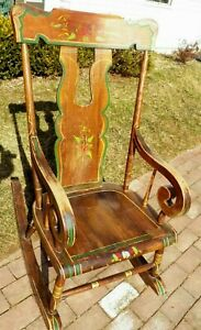 Vintage Paint Decorated Rocker Rocking Chair Hand Painted