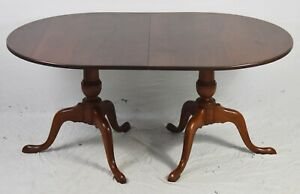 Eldred Wheeler Solid Cherry Double Pedestal Dining Room Table Williamsburg Style
