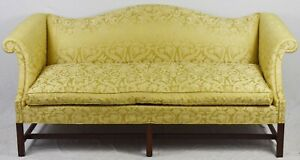 Hickory Chair Mahogany Chippendale Sofa With Damask Fabric Williamsburg Style