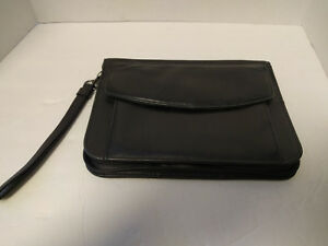 Vtg Yamani Black Leather Zip Around Clutch Organizer Wristlet