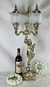 Huge Spelter Bronze Silver Patina Art Nouveau Lady Table Lamp 3 Glass Arm Putti