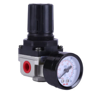1pcs Air Compressor Pressure Control Valve Manifold Regulator With Gauges