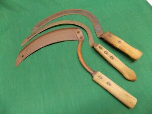 Lot Of 3 Vintage Sickle Scythe Weed Whacker Cutter Rusty Rustic Primitive Decor