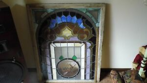 Antique Vintage Church Stain Glass Window With Cross