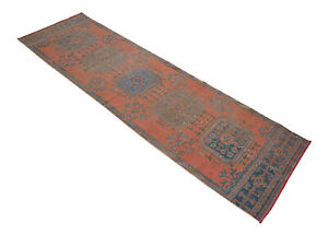 Vintage Distressed Runner Rug Hand Knotted Muted Turkish Oushak Rug 3 1 X 10 11