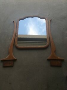 Antique Refinished Oak Dresser Mirror Frame And Harp No Hardware New Mirror