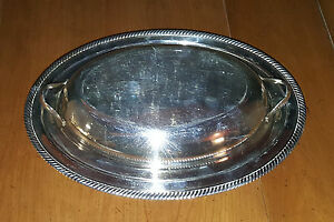 Vintage Silver Plate Covered Serving Tray 682 International Silver Co Castleton